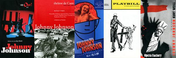 Johnny Johnson playbills:Neue Oper Wien, Theatre de Caen, Theater des Westens, Broadway, Opera Factory