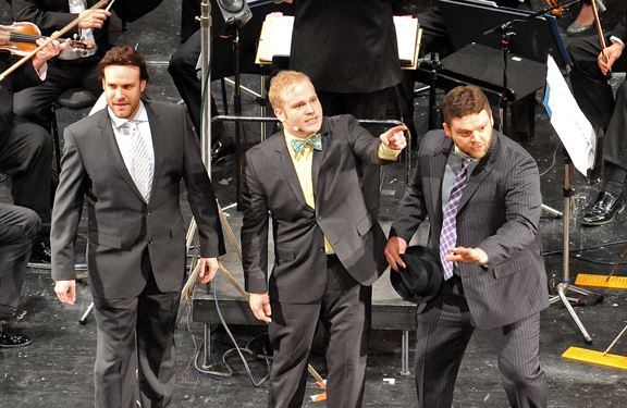 "Richard Todd Adams, Jacob Keith Watson, and Mike ""Tuba"" McKinsey in ""New York, New York"" at the 2013 Kurt Weill Fest"