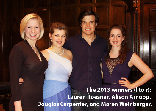 2013 Lotte Lenya Competition prize winners (left to right): Lauren Roesner, Alison Arnopp, Douglas Carpenter, and Maren Weinberger.